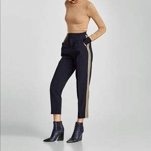 Zara High Waisted Trousers With Gold Stripes
